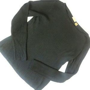 CASLON pure silk ribbed black sweater top